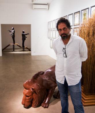 Riyas Komu at his exhibition Holy Shivers at Vadehra Art Gallery, Delhi